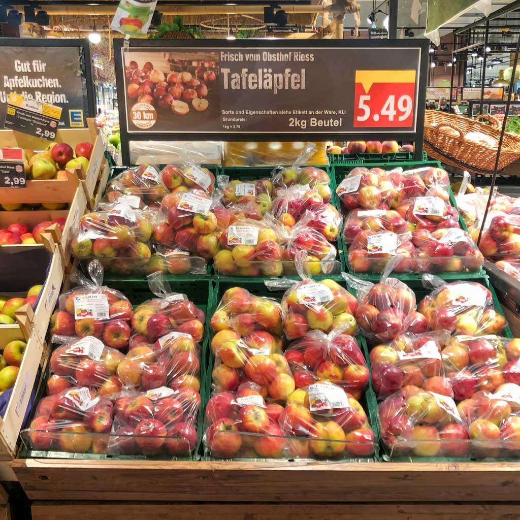 Äpfel vom Obsthof Rieß im Supermarkt
